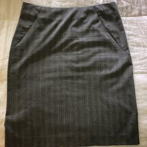 New York & Company Gray Pinstriped Pencil Skirt